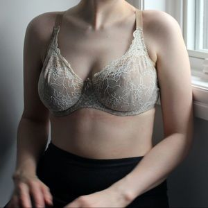 Sexy beige and white eyelet lace bra approx 36 D